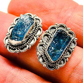 أقراط الفلوريت الأزرق الخام 3/4 & quot; (925 الفضة الاسترليني) - اليدوية الصنع بوهو خمر مجوهرات EARR408798