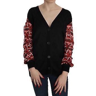 Black Plunging Long Sleeve Cardigan Sweater