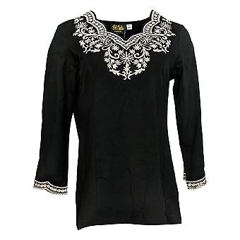 Bob Mackie Women's Top Embroidered Scalloped Neckline Knit Black A310805