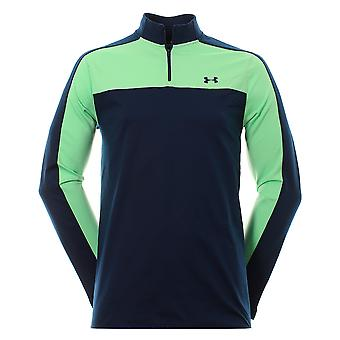 Under Armour UA Storm Navy Green Jumper Mens Golf Midlayer 1306318 409