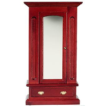 Dolls House Miniature 1:12 Chambre Meubles Mahogany Wood Mirror Door Garde-robe