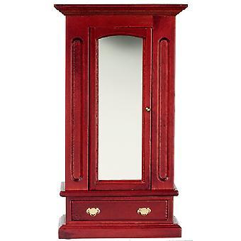 Dolls House Miniature 1:12 Bedroom Furniture Mahogany Wood Mirror Door Wardrobe