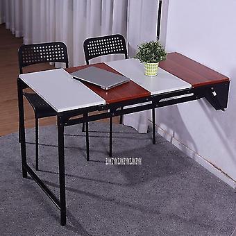 Multifunkční nástěnný jídelní stůl složený jako balkon s nástěnnou úložnou policí