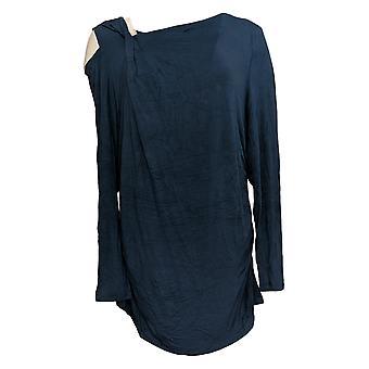 ليزا رينا جمع المرأة & apos;ق أعلى الأكمام الطويلة قطع الكتف الأزرق A299557