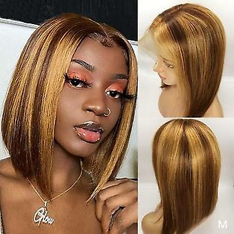 13x4 Straight Lace Front Human Hair Wigs 180% Brown Highlight Wig