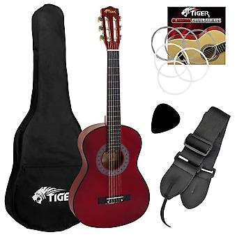 Tiger music 1/4 size classical guitar pack - red