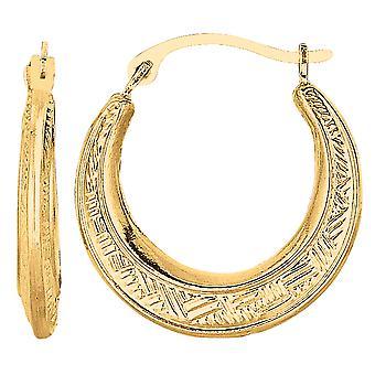 10k Yellow Gold Weave Texture Design Round Shape Hoop Earrings, Diameter 20mm