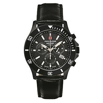 Relógio Militar Alpino Suíço Cronógrafo De Quartzo Analógico 7022.9577SAM Couro