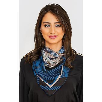 Women's stora fyrkantiga huvudduk i blått checktryck