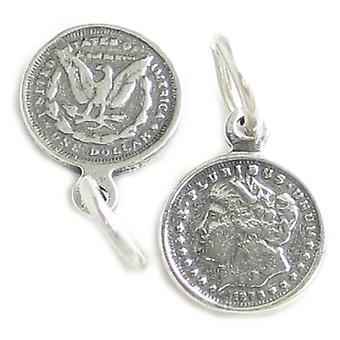Morgan Silver Dollar Tiny Sterling Silver Charm .925 X 1 Dollar Charms - 4225