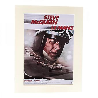 Larrini Mcqueen Le Mans 1970 French Film Poster A4 Mounted Photo