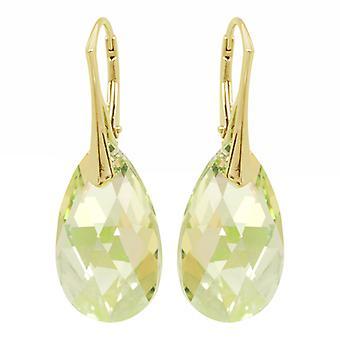 Zilveren Goudkleurige Oorbellen conoció a Swarovski Kristal Luminous Green- 22MM