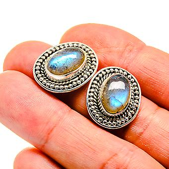 "Labradorite Earrings 3/4"" (925 Sterling Silver)  - Handmade Boho Vintage Jewelry EARR410640"