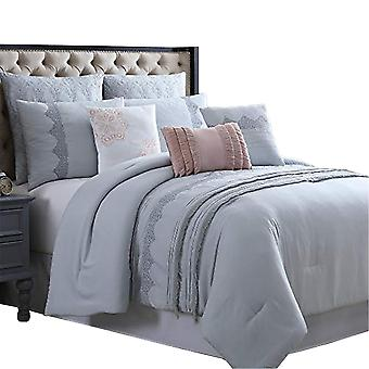 Valletta 8 Piece Queen Comforter Set With Embroidery And Pleats The Urban Port, Gray