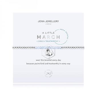 Joma Jewellery A Little Birthstone March Aqua Crystal Silver 17.5cm Stretch Bracelet 3462