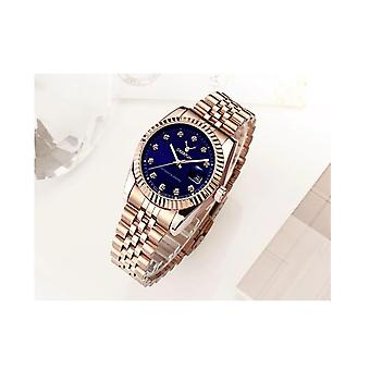Ladies Watch Rose Gold Blue Women Woman Smart Watches Two Tone Present UK Stock