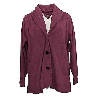 Cuddl Duds Women's Sweater Fleecewear Stretch Blazer Cardi Purple A369667