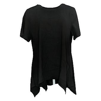LOGO by Lori Goldstein Women's Cotton Knit Top Button Detail Black A30107