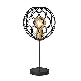 1 Light Table Lamp With Wavey Bar Detail - Black With Gold Lampholders