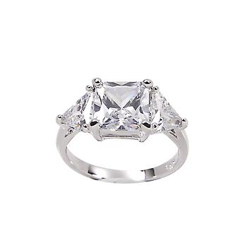 Engagement Sterling Silver Large Princess Cut Stone Trillion Cut Ring