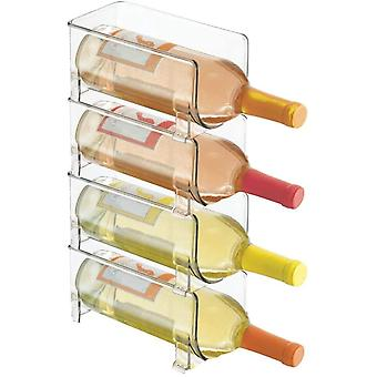mDesign Ultra Modern Wine Rack - Crystal Clear Bottle Rack - Horizontal Wine Holder Extends Wine