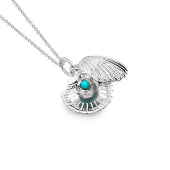 Sterling Silver Pendant Necklace - Origins Scallop + Turquoise 2 Pc