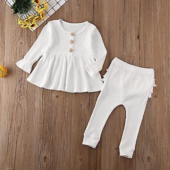 Newborn Baby Clothes, Cotton Tops Flower Ruffle Long Pants