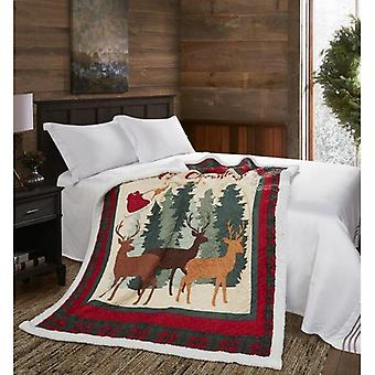 Spura Home Pictorial Christmas Deer Quilted Contemporary Sherpa Throw