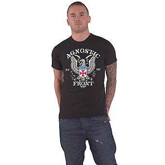 Agnostic Front Camiseta Eagle Crest Banda Logo nuevo Oficial Hombres Negro