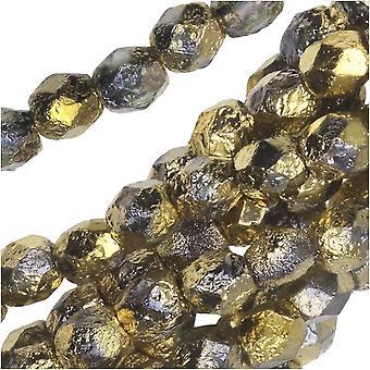 التشيكية النار مصقول الخرز الزجاج، جولة الأوجه 4mm، 40 قطعة، محفور كريستال نصف معطف العنبر الذهب