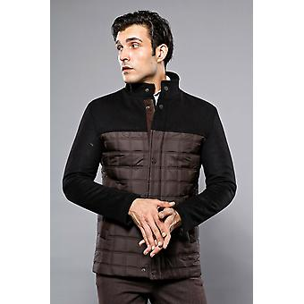 Cachet detailed quilted brown coat   wessi