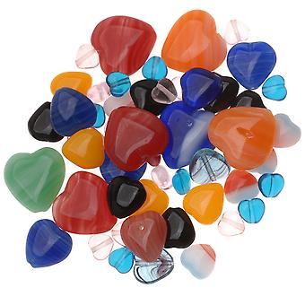التشيكية الزجاج القلب على شكل حبة ميكس الكثير ألوان متنوعة والأحجام (1 أوقية.)
