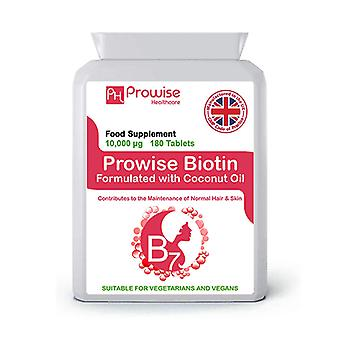 Biotin Formulated with Coconut Oil 10,000mcg 180 Tablets | Suitable For Vegetarians & Vegans | Made In UK by Prowise