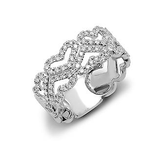 Jewelco London Solid 9ct White Gold Pave Set Round G SI1 0.6ct Diamond Love Heart Zig Zag Eternity Ring 8mm