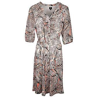 K-design Beige Floral Nature Print 3/4 Sleeve Dress With Metal Loop Belt