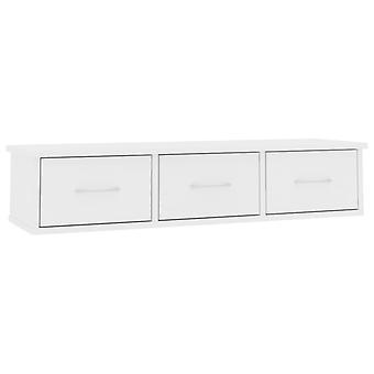 vidaXL Seinälaatikko Teline Valkoinen 88x26x18,5 cm Lastulevy