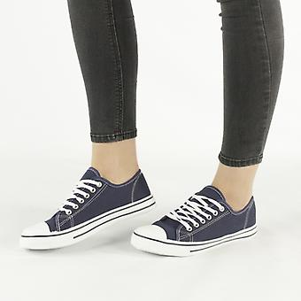 Shumo Baltimore Ladies Canvas Lace Up Low Trainers Navy