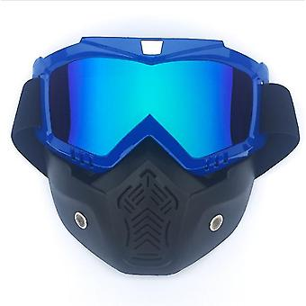 Yksikokoinen sininen moottoripyöräkypärä ajolasit lasit irrotettava kasvonaamio x5624