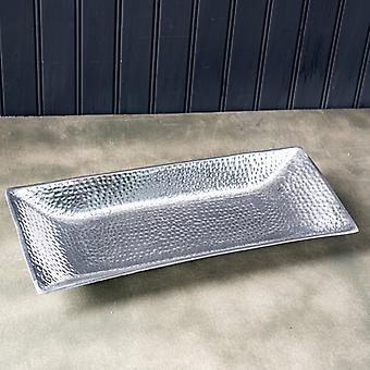 Silver Hammered Rectangle Serving Tray