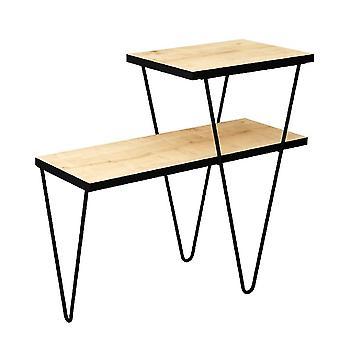 Tavolino da Caffe' Toros, Colore Rovere, Nero in Truciolare Melaminico, Metallo, L60xP25xA55 cm