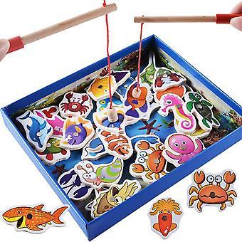 32kpl vauvan koulutus lelut kala puinen magneettinen kalastus lelu asettaa peli joulu kalastus