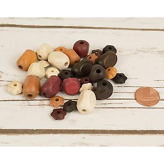 Assorteret brune Mix med blomst form træ Threading perler for håndværk - 30pk