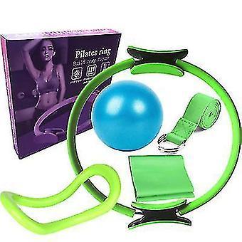 6pcs/set Yoga Fitness Pilates Ring Yoga Ball Rally Band(Green)