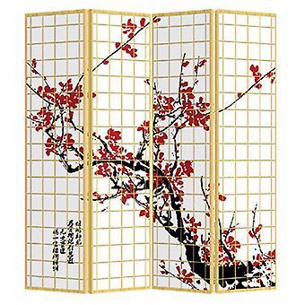 Fine Asianliving Japanese Oriental Room Divider Folding Privacy Screen 4 Panneaux W160xH180cm Japonais Sakura
