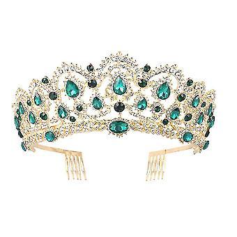 Свадебные Tiaras Корона Свадебные аксессуары для волос Зеленый Rhinestone Роскошная корона Экстравагантные ювелирные изделия волос