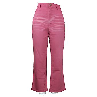 LOGO by Lori Goldstein Women's Jeans Baby Bootcut Cropped Pink A375409