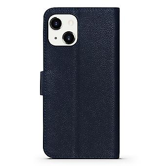 Para iPhone 13 Case Fashion Cowhide Genuine Leather Wallet Cover Azul