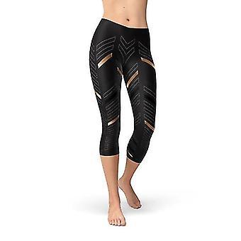 Femei Sport Stripes Negru Capri Jambiere