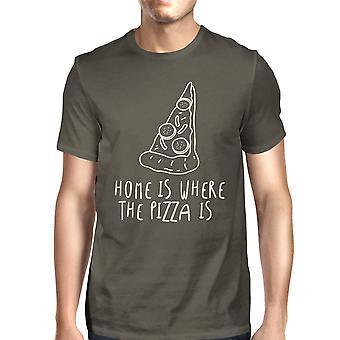 Hjem der Pizza Tees Mens Cool grå morsomme grafisk t-skjorte