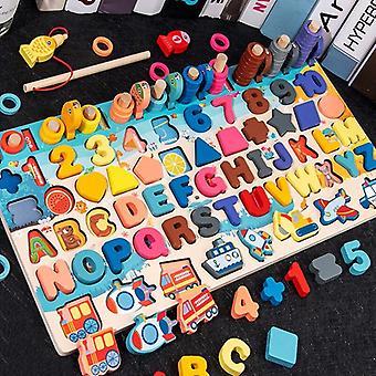 עץ מגנט דיג משחקים עסוק לוח לילדים חינוך ספירה פאזל  צעצועים למתמטיקה